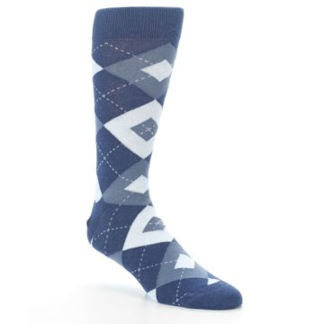 Image of Steel Blue Navy Argyle Men's Dress Socks (side-1-27)