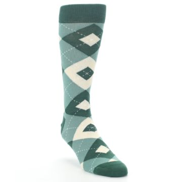 Image of Emerald Green Argyle Men's Dress Socks (side-1-front-02)