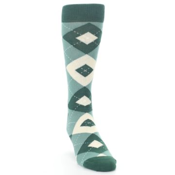 Image of Emerald Green Argyle Men's Dress Socks (side-1-front-03)