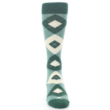 Image of Emerald Green Argyle Men's Dress Socks (front-04)
