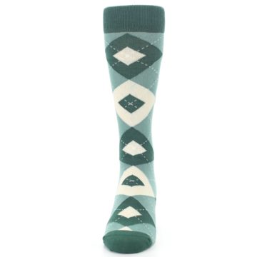 Image of Emerald Green Argyle Men's Dress Socks (front-05)