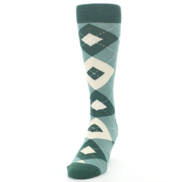 Image of Emerald Green Argyle Men's Dress Socks (side-2-front-06)