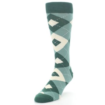 Image of Emerald Green Argyle Men's Dress Socks (side-2-front-07)