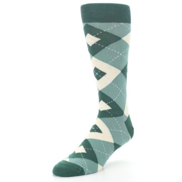 Image of Emerald Green Argyle Men's Dress Socks (side-2-front-08)