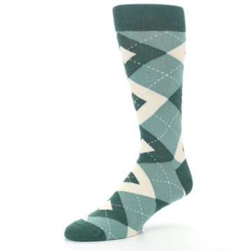 Image of Emerald Green Argyle Men's Dress Socks (side-2-09)