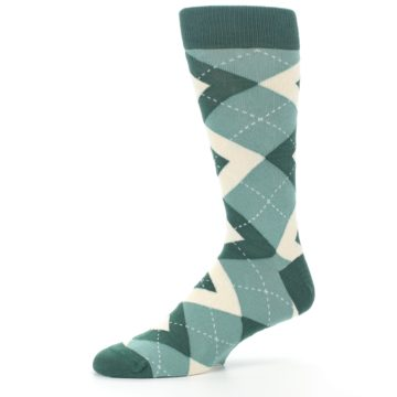 Image of Emerald Green Argyle Men's Dress Socks (side-2-10)