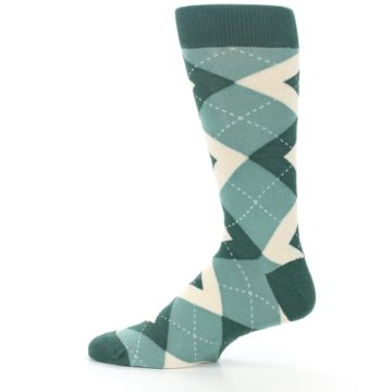 Image of Emerald Green Argyle Men's Dress Socks (side-2-12)