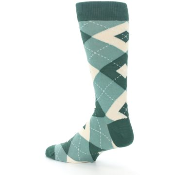 Image of Emerald Green Argyle Men's Dress Socks (side-2-back-14)