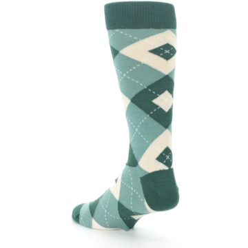 Image of Emerald Green Argyle Men's Dress Socks (side-2-back-15)