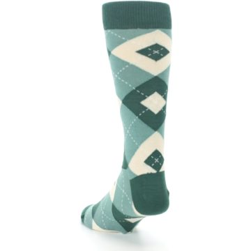 Image of Emerald Green Argyle Men's Dress Socks (side-2-back-16)