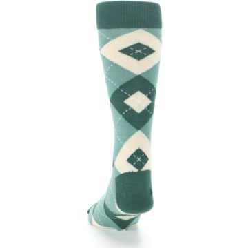 Image of Emerald Green Argyle Men's Dress Socks (back-17)