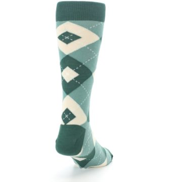 Image of Emerald Green Argyle Men's Dress Socks (side-1-back-20)