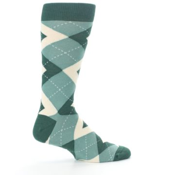 Image of Emerald Green Argyle Men's Dress Socks (side-1-24)