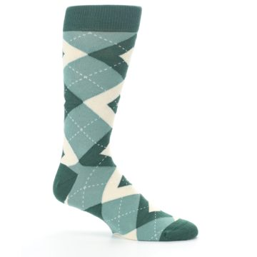 Image of Emerald Green Argyle Men's Dress Socks (side-1-25)