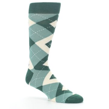 Image of Emerald Green Argyle Men's Dress Socks (side-1-26)