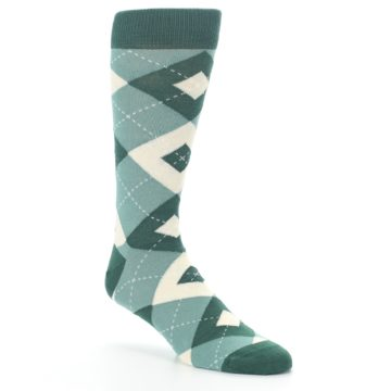 Image of Emerald Green Argyle Men's Dress Socks (side-1-27)