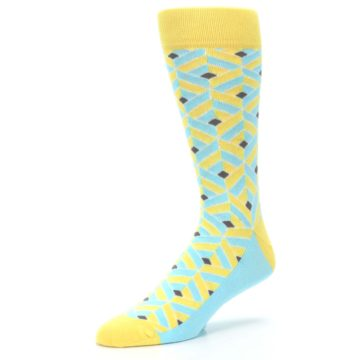 Image of Yellow Blue Box Optical Men's Dress Socks (side-2-09)