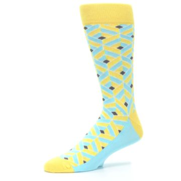 Image of Yellow Blue Box Optical Men's Dress Socks (side-2-10)