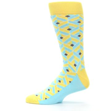 Image of Yellow Blue Box Optical Men's Dress Socks (side-2-12)