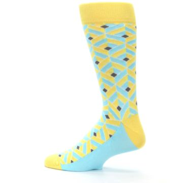 Image of Yellow Blue Box Optical Men's Dress Socks (side-2-13)