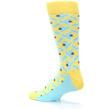 Image of Yellow Blue Box Optical Men's Dress Socks (side-2-back-14)