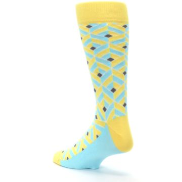 Image of Yellow Blue Box Optical Men's Dress Socks (side-2-back-15)