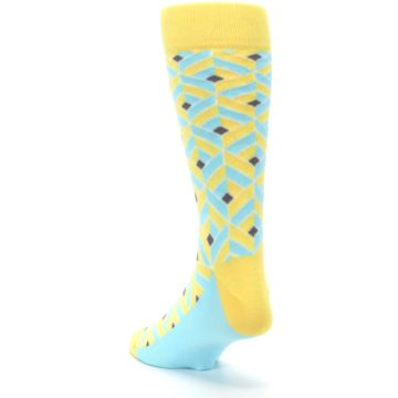 Image of Yellow Blue Box Optical Men's Dress Socks (side-2-back-16)