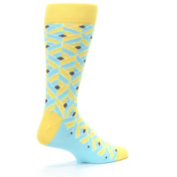 Image of Yellow Blue Box Optical Men's Dress Socks (side-1-23)