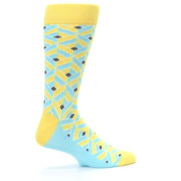 Image of Yellow Blue Box Optical Men's Dress Socks (side-1-24)