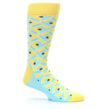 Image of Yellow Blue Box Optical Men's Dress Socks (side-1-25)