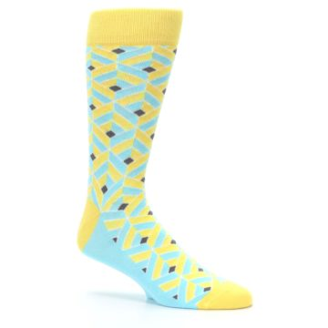 Image of Yellow Blue Box Optical Men's Dress Socks (side-1-26)