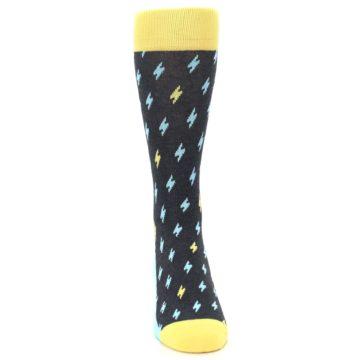Image of Yellow Blue Lightning Bolts Men's Dress Socks (front-04)