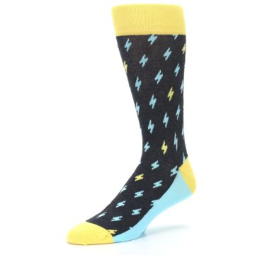 Image of Yellow Blue Lightning Bolts Men's Dress Socks (side-2-09)