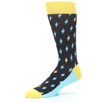 Image of Yellow Blue Lightning Bolts Men's Dress Socks (side-2-10)