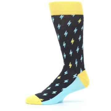 Image of Yellow Blue Lightning Bolts Men's Dress Socks (side-2-11)