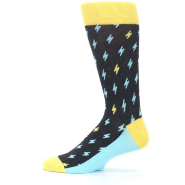 Image of Yellow Blue Lightning Bolts Men's Dress Socks (side-2-12)