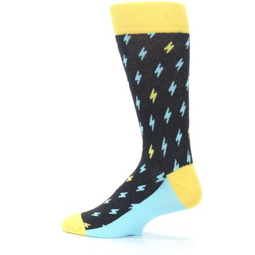 Image of Yellow Blue Lightning Bolts Men's Dress Socks (side-2-13)