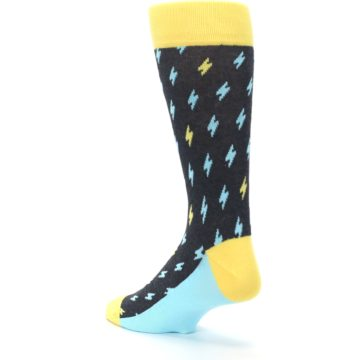 Image of Yellow Blue Lightning Bolts Men's Dress Socks (side-2-back-15)