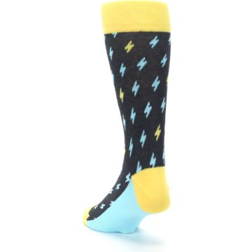 Image of Yellow Blue Lightning Bolts Men's Dress Socks (side-2-back-16)