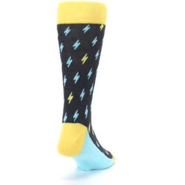 Image of Yellow Blue Lightning Bolts Men's Dress Socks (side-1-back-20)