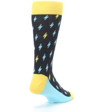 Image of Yellow Blue Lightning Bolts Men's Dress Socks (side-1-back-21)