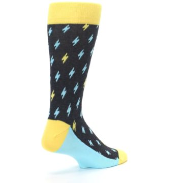 Image of Yellow Blue Lightning Bolts Men's Dress Socks (side-1-back-22)