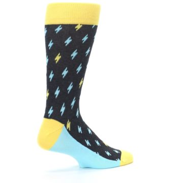 Image of Yellow Blue Lightning Bolts Men's Dress Socks (side-1-23)