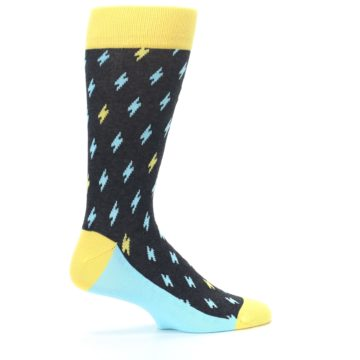 Image of Yellow Blue Lightning Bolts Men's Dress Socks (side-1-24)