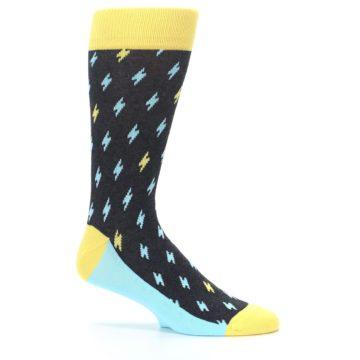 Image of Yellow Blue Lightning Bolts Men's Dress Socks (side-1-25)