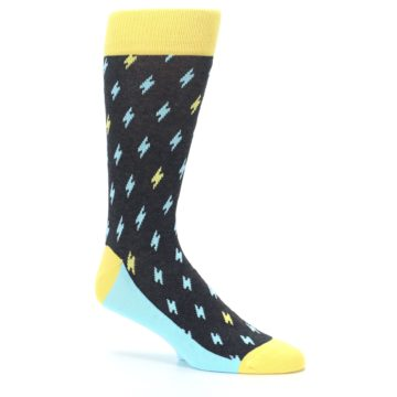 Image of Yellow Blue Lightning Bolts Men's Dress Socks (side-1-26)