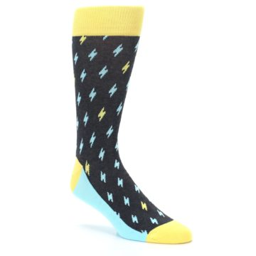 Image of Yellow Blue Lightning Bolts Men's Dress Socks (side-1-27)