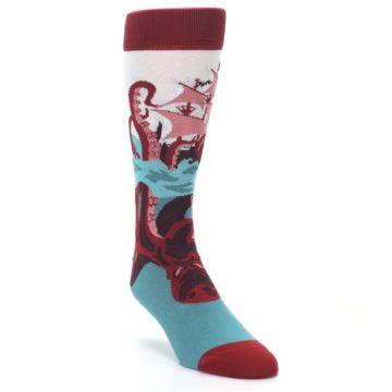 Image of Maroon Kraken Octopus Men's Dress Socks (side-1-front-02)