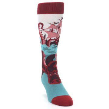 Image of Maroon Kraken Octopus Men's Dress Socks (side-1-front-03)