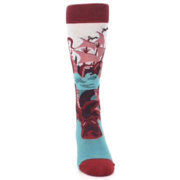 Image of Maroon Kraken Octopus Men's Dress Socks (front-04)
